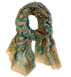 Scarves - Spring Paisley - Teal and Gold