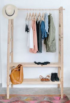 ideas for diy clothes hanger rack design Diy Clothes Hanger Rack, Clothes Racks, Hanging Rack For Clothes, Diy Hanger, Wooden Clothes Rack, Clothes Rod, Clothes Shops, Clothing Stores, Creative Storage