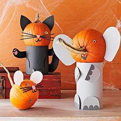 """The Great Pumpkin: 23 Creative Pumpkin Crafts: The Boo Zoo (via Parents.com)"" (... try to find an alternative to paper for these embellishments ~ clay is one for smallest ~ esp. If these are to sell/become lamps)"