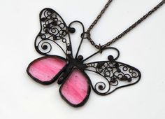Butterfly pendant jewelry stained glass designer pendant peach pink black necklace stained glass filigree striking large pendant nature by OrioleStudio on Etsy