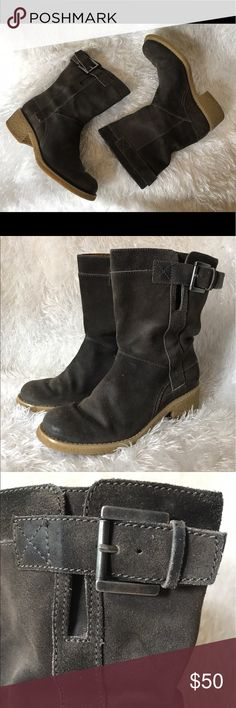 Nine West Vintage America Collection Suede Boots Beautiful genuine Suede boots from Nine West's Vintage America Collection. Heavy duty and durable! Worn twice, small mark on the front of the right boot (shown in pictures) - blends into the dark color of the boot. Strap with buckle on the upper outside part of each boot. Mid calf length. In great condition! Color is a dark, chocolate brown. Nine West Shoes Ankle Boots & Booties