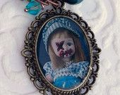 Gothic Lolita Pastel Goth Necklace Creepy Cute Zombie Baby Doll Cameo Pendant Scary Nu Goth Voodoo Charm Horror Cosplay  Steampunk Jewelry