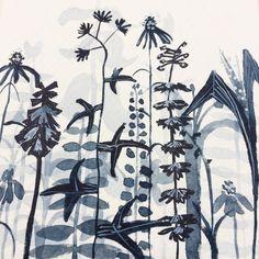 Day 17: layered garden study, soundtrack birdsong & lawnmowers   #dailyproject #paynesgrey #titaniumwhite #limitedpalette #smallsquarepaintings #10x10 #plants #foilage