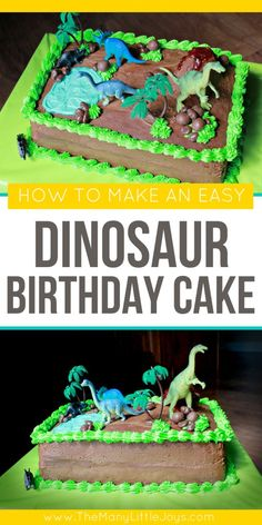 Have a little dinosaur loving boy or girl? This easy dinosaur cake will have them roaring for joy on their next birthday! Have a little dinosaur loving boy or girl? This easy dinosaur cake will have them roaring for joy on their next birthday! Dinosaur Cakes For Boys, Make A Dinosaur, Dinosaur Birthday Cakes, Dinosaur Party, Cake Birthday, Dinosaur Cake Easy, Boys Birthday Cakes Easy, Dinosaur Cupcake Cake, Birthday Ideas