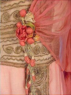 Antique Dress (front detail)  Jeanne Hallee  c.1912  Pink Gossamer Silk Chiffon Gown