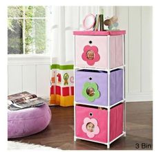 Girls Toy Storage Bin Night stand Pink Personalized Flowers Furniture Kids Room