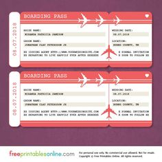 This free printable boarding pass save the date template is an easy and free way to get the word out about your upcoming nuptials.