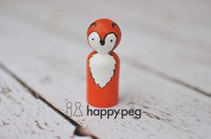 Fox Hand Painted Wooden Peg Doll