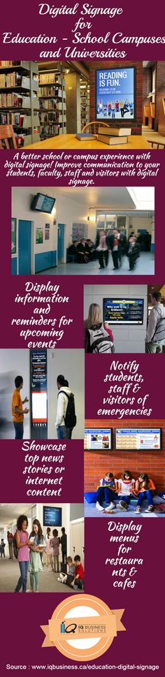 Digital signage reduces the time and energy you spend creating and disturbing information on events, rules or processes, school or campus mapping, directories, and emergency messaging.