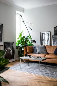 Get the Look: Moody Masculine Living Room — Mix & Match Design Company - Love the look of this moody masculine living room with its simple Scandinavian style? A cozy leathe - Masculine Living Rooms, Decor, Living Room Scandinavian, Small Apartment Design, Interior, Living Decor, Living Room Lighting, Living Room Diy, Living Room Designs