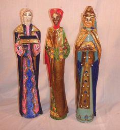 3 TALL Vintage Mid Century Modernist Jeweled Paper Mache Wise Men by De Sela