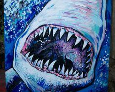 SHARK great white blue bite teeth scary ocean beach by dawntarr Scary Paintings, Original Paintings, Scary Ocean, Painting Edges, Painting Art, Shark Logo, Shark Tattoos, White Ornaments, West Art