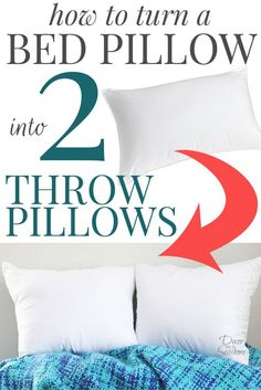 I had no idea it was so easy to turn a bed pillow into throw pillows! Throw pillows are so overpriced, and this easy tutorial shows you how to… Diy Throws, Diy Throw Pillows, Sewing Pillows, How To Make Pillows, Decorative Pillows, Burlap Pillows, Pillows On Bed, Handmade Pillows, Floor Pillows