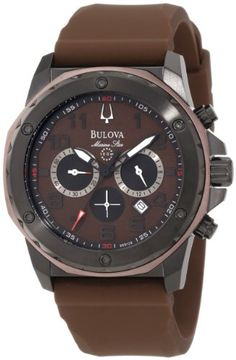 49f3a8b4d19 Bulova Men s 98B128 Brown Rubber Quartz Watch with Brown Dial Relogios  Masculinos Importados