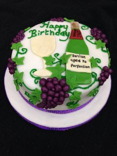 """This is a grape and wine cake for a birthday. It's only a 6"""" cake so lots of detail for a small cake!"""