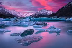 In A Blaze Of Glory by Darren J Bennett - Lake Tasman, Mount Cook, New Zealand. Beautiful World, Beautiful Places, Beautiful Pictures, Amazing Places, All Nature, Amazing Nature, Landscape Photography, Nature Photography, Beautiful Landscapes