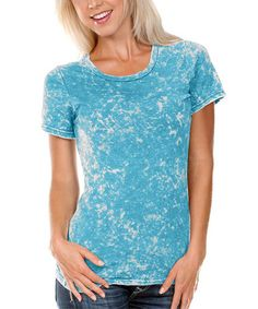 Another great find on #zulily! Turquoise Tie-Dye Crewneck Tee - Women by Kavio! #zulilyfinds