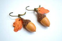 Acorn earrings. Autumn oak acorn leaves earrings. Autumn jewelry. Fall yellow…