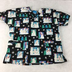 93470d6c5bf Snowman Holiday Christmas Nursing Medical Scrub Top Size Small Snowflake  Black
