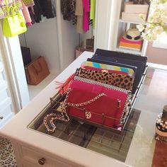 interiors by alice lane home collection | rachel parcell, pink peonies, master closet, office, red tory burch clutch, leopard clutch