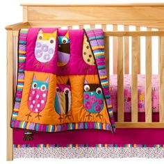 ZUTANOBLUE Owl Brights 4 pc Crib Bedding Set - I'm going to get this for Dalilah!  Can't wait!!!