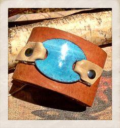 Light Blue Copper Enamel Leather Cuff Bracelet Tan by TornTo, $54.00
