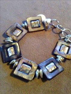 One of a Kind Blue Gray geometric toggle bracelet #1090 by LoisWagnerOriginals on Etsy