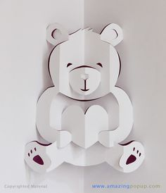 Pop up Bear Pop Up Art, Arte Pop Up, Pop Up Valentine Cards, Bear Valentines, Origami And Kirigami, Origami Paper, Oragami, Paper Cards, Folded Cards