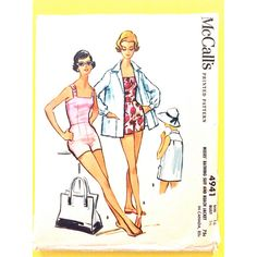 McCall's 4941 1950s Misses' Bathing Suit and Cover-Up 50s Swimsuit... ($38) ❤ liked on Polyvore featuring home and home improvement