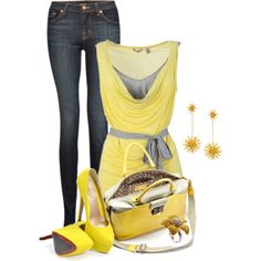 A fashion look from January 2013 featuring J Brand, yellow shoes and Lanvin. Browse and shop related looks.