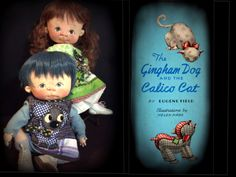 Gingham Dog and Calico Cat one of a kind babies by doll artist Jan Shackelford