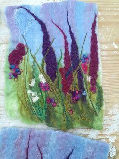 Wet felt - Machine Embroidery Nicola Overton - Art Felt Colour Felt Embroidery, Felt Applique, Machine Embroidery, Wet Felting, Needle Felting, Felt Pictures, Textile Fiber Art, Wool Art, Felt Art