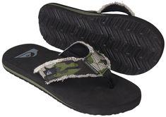 f1aca3acbac Quiksilver Monkey Abyss Sandals (Black Green Camo)