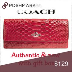 """**1 DAY SALE**  Coach Snake Leather Wallet Great gift idea.....for yourself ;) * Only 2 left in stock * Comes in packaging as shown in photo #3 * Authentic, NEW, & with tag!  * Coach Soft Wallet in Snake Embossed Leather  * Retail $175, style F53734 * True Red with silver-tone hardware  * Snap closure, fabric lining  * Zip coin & multi-function pockets  * Full-length bill pockets  * Size:  7 3/4""""L x 3 3/4""""H * Non-smoking home of Aurora33180  * No trades or PP Coach Bags Wallets"""