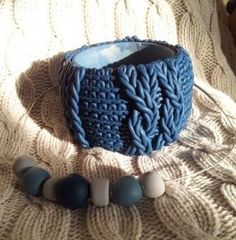 Super chunky peacock blue faux knit bangle and necklace: could you believe it's polymer clay?