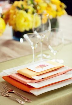 2014 orange beach wedding napkins, warm color beach wedding napkins.