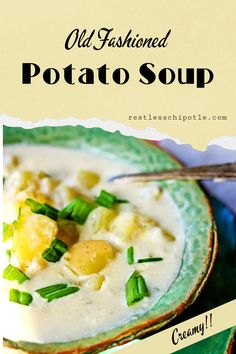 Easy potato soup is so creamy and rich! Grandma's recipe with variations and great tips for making it healthier by cutting the fat. Old fashioned goodness! Easy Potluck Recipes, Soup Recipes, Old Fashioned Potato Soup, Easy Homemade Soups, Slow Cooker Recipes, Cooking Recipes, Creamy Potato Soup, Easy Family Dinners, Southern Recipes