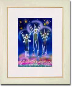 販売絵画 新月紫紺大作 タイトル「幸せのジャンプ」