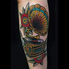 Gramophone tattoo traditional,by vassotats lowbrow