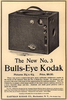 3 Bulls-Eye Kodak - Emergence of Advertising in America - Duke Libraries Antique Cameras, Old Cameras, Vintage Cameras, Photography Camera, Photography Projects, Vintage Photography, Pregnancy Photography, Portrait Photography, Fashion Photography