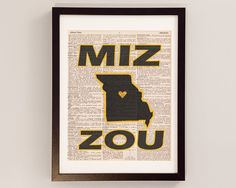 Vintage Mizzou Print - Columbia Missouri Art - Print on Vintage Dictionary Paper - I Heart Mizzou Wall Art - University of Missouri Art