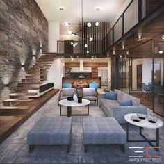 Home Stairs Design, Loft Interior Design, Loft Design, Home Room Design, Dream Home Design, Best Modern House Design, Modern Villa Design, Small Modern Home, Small House Design