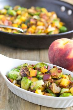 Recipe for Brussels Sprouts with Peaches and Bacon