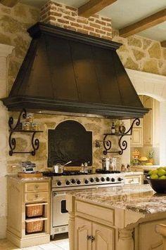40 Kitchen Vent Range Hood Designs And Ideas Kitchen Hood Design, Kitchen Vent Hood, Kitchen Exhaust, Kitchen Stove, Pantry Design, Kitchen Island Range, Kitchen Islands, Rustic Kitchen, Kitchen Decor