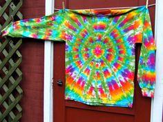 Large Long Sleeve Tie Dye T-shirt - Rainbow Daydream - Ready to Ship. $25.00, via Etsy.