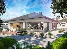Проект+на+едноетажна+къща+с+4+спални,+двоен+гараж+и+таван Beautiful House Plans, Beautiful Homes, Bungalow House Design, Bedroom Loft, Home Projects, My House, Gazebo, Outdoor Structures, Mansions