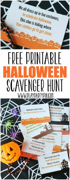 Love this free printable Halloween scavenger hunt from www.playpartypin.com, my kids would love this Halloween party game!