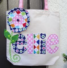 Personalized Applique Name Tote with Matching Flower Applique Pillows, Home Deco, Onesies, Cricut, Crafty, Embroidery, Quilts, Unique Jewelry, Sewing Ideas