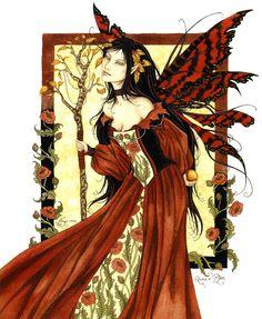 Amy Brown Queen Mab I - fairy art Amy Brown Fairies, Dark Fairies, Fantasy Fairies, Elves Fantasy, Medieval Fantasy, Morgana Le Fay, Dragons, Autumn Fairy, Fairy Queen