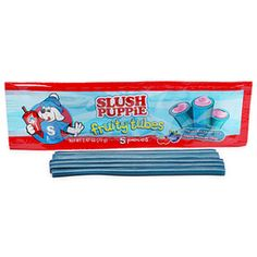 Slush Puppie Fruity Tubes - Blue Raspberry with Cherry Filling Candy Packs: 18-Piece Display